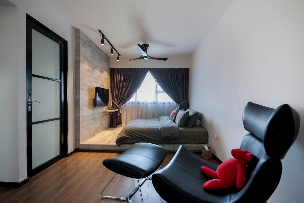 Industrial, HDB, Bedroom, Segar Road, Interior Designer, Aart Boxx Interior, Narrow Layout, Black Armchair, Armchair, Rectangular Layout, Spacious, Couch, Furniture, Chair, Building, Housing, Indoors
