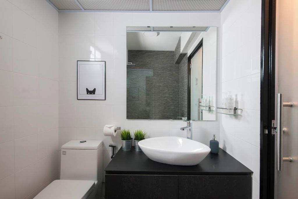 Industrial, HDB, Bathroom, Segar Road, Interior Designer, Aart Boxx Interior, Bath Mirror, Frosted Door, Water Closet, Toilet Bowl, White And Black, Monochrome, Indoors, Interior Design, Room, Toilet