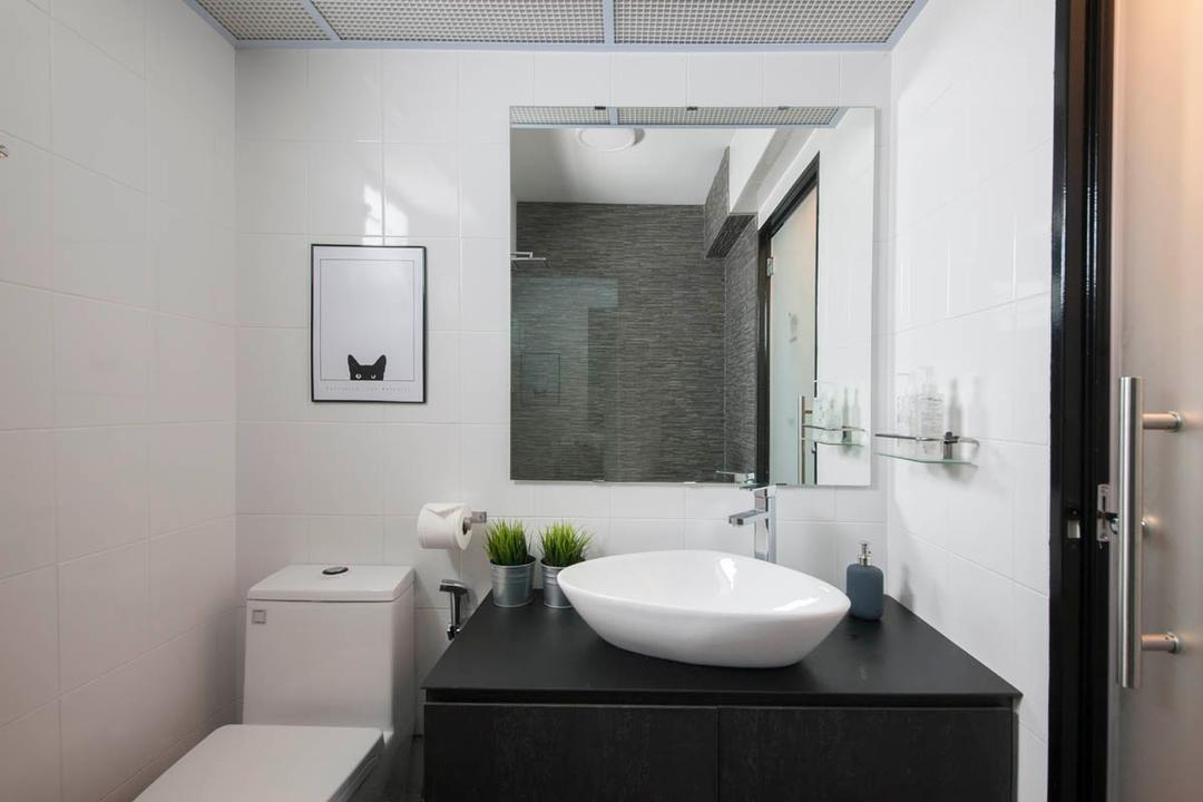 Segar Road, Aart Boxx Interior, Industrial, Bathroom, HDB, Bath Mirror, Frosted Door, Water Closet, Toilet Bowl, White And Black, Monochrome, Indoors, Interior Design, Room, Toilet