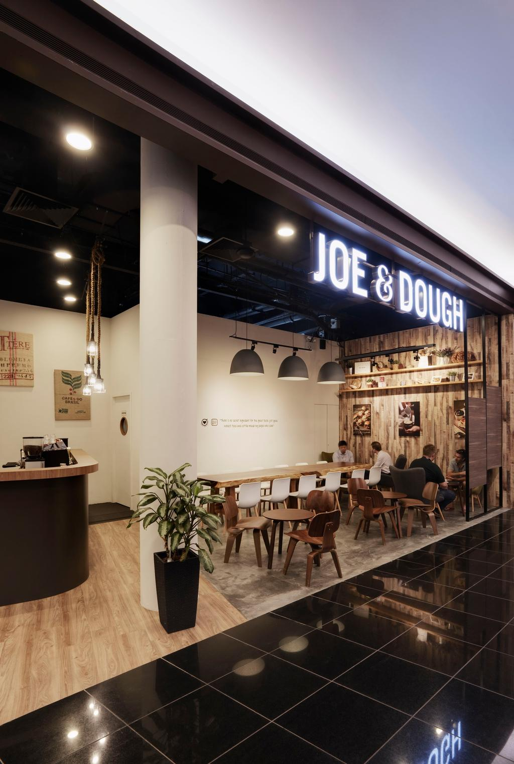 Joe & Dough (Millenia Walk), Commercial, Interior Designer, Liid Studio, Scandinavian, Dining Room, Dining Table, Table, Chair, Parquet, Hanging Light, Lighting, Display Shelf, Shelf, Shelves, Cement Flooring, Wood, Laminate, Wood Laminate, Parquet Wall, Flora, Jar, Plant, Potted Plant, Pottery, Vase, Human, People, Person, Furniture, Couch, Cafe, Restaurant, Reception, Reception Desk