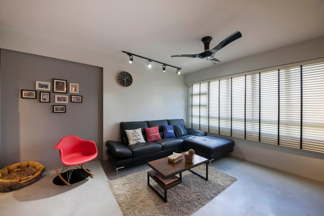 Segar Road, Aart Boxx Interior, Industrial, Living Room, HDB, Wooden Coffee Table, Black Ceiling Fan, Black Tracklights, Wall Art, Photo Frames, Dog Bed, Wall Clock, Leather Sofa, Coffee Table, Furniture, Table, Chair, Indoors, Room