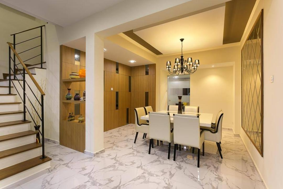 Jalan Terang Bulan, Fineline Design, Traditional, Dining Room, Landed, Marble Floor Tiles, Chandelier, White Dining Table, White Dining Chairs, Banister, Handrail, Staircase, Indoors, Interior Design, Room