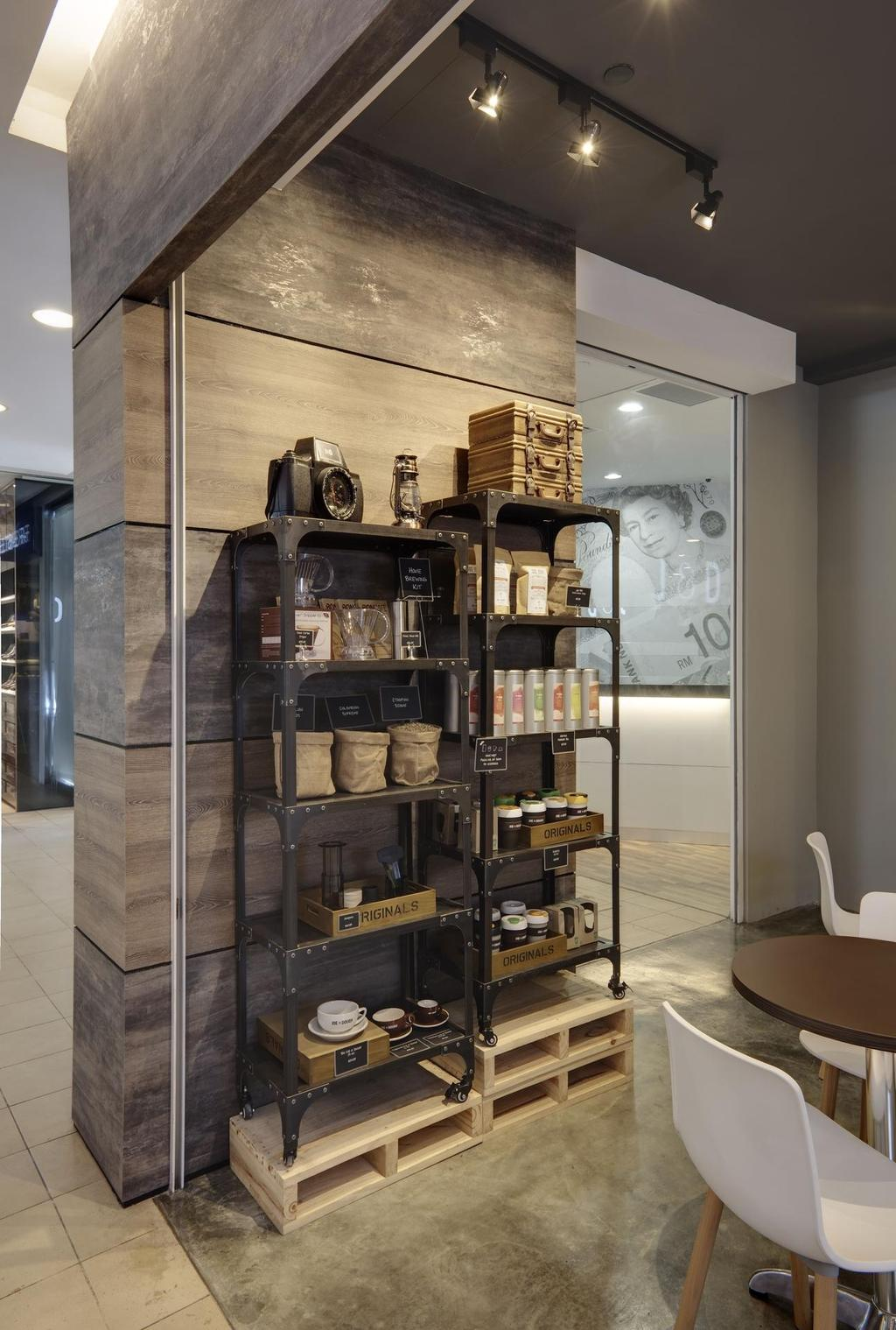 Joe & Dough (Golden Shoe Carpark), Commercial, Interior Designer, Liid Studio, Scandinavian, Shelf, Shelves, Display Shelf, Display Unit, Cement Flooring, Wood Laminate, Wood, Laminate, Track Lighting, Luggage, Suitcase, Appliance, Electrical Device, Oven