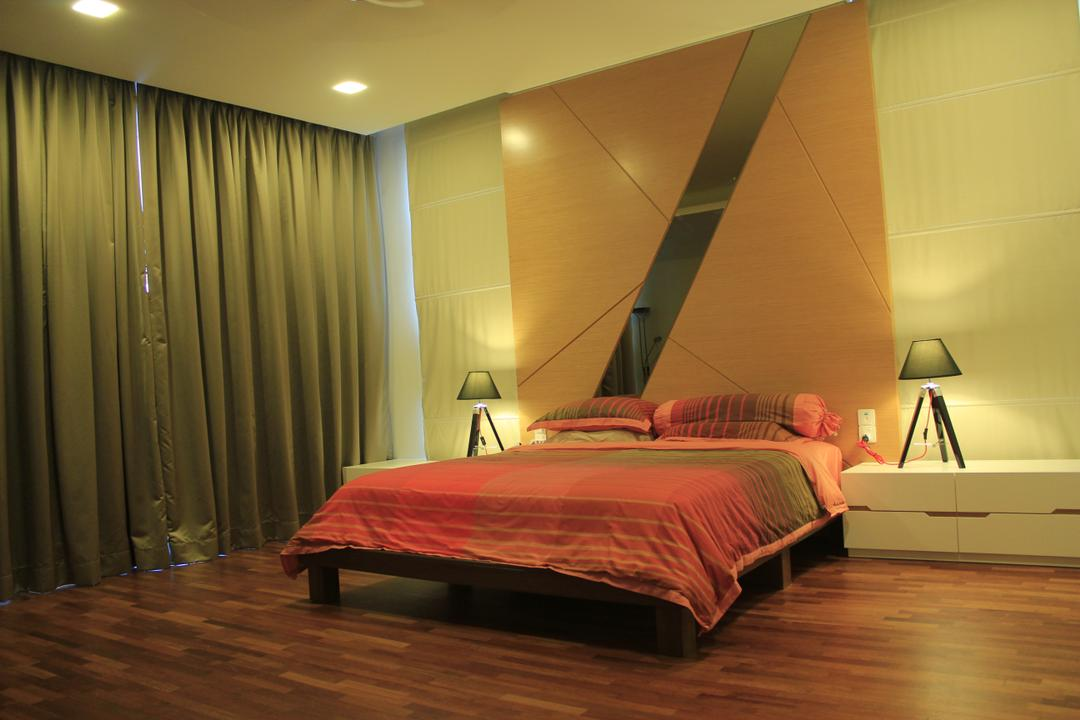 Cyberjaya, Think Studio, Contemporary, Bedroom, Landed, Bed, Red, Orange, Bright Colours, Striking, Feature Wall, Bedside Table, Table Lamp, Bedside Table Lamp, Wood Floor, Wooden Flooring, Parquet, Curtains, Furniture, Flooring, Indoors, Interior Design, Hardwood, Wood