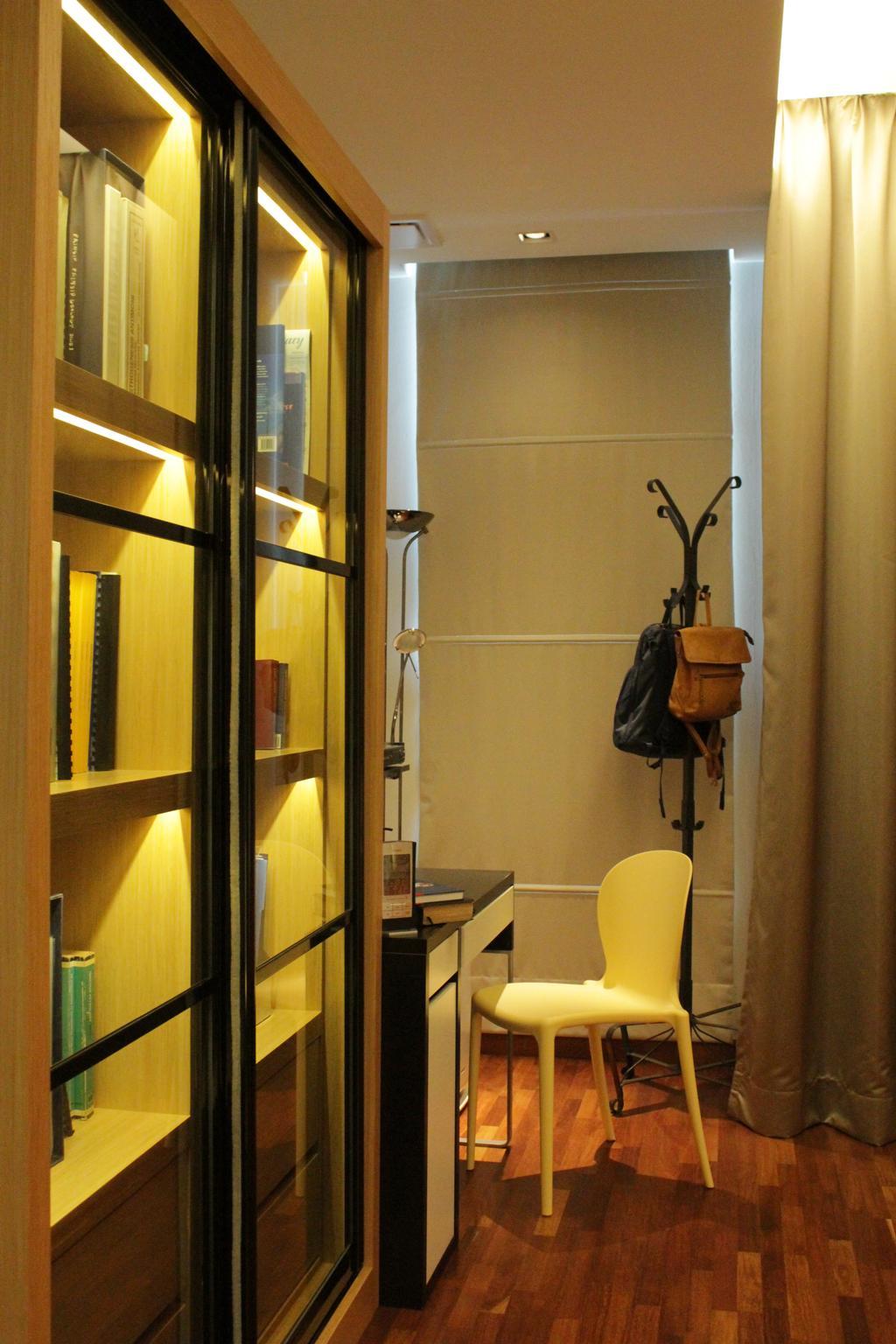 Contemporary, Landed, Bedroom, Cyberjaya, Interior Designer, Think Studio, Bookshelf, Books, Chairs, Wood Floor, Wooden Flooring, Clothes Rack, Coat Rack, Bags