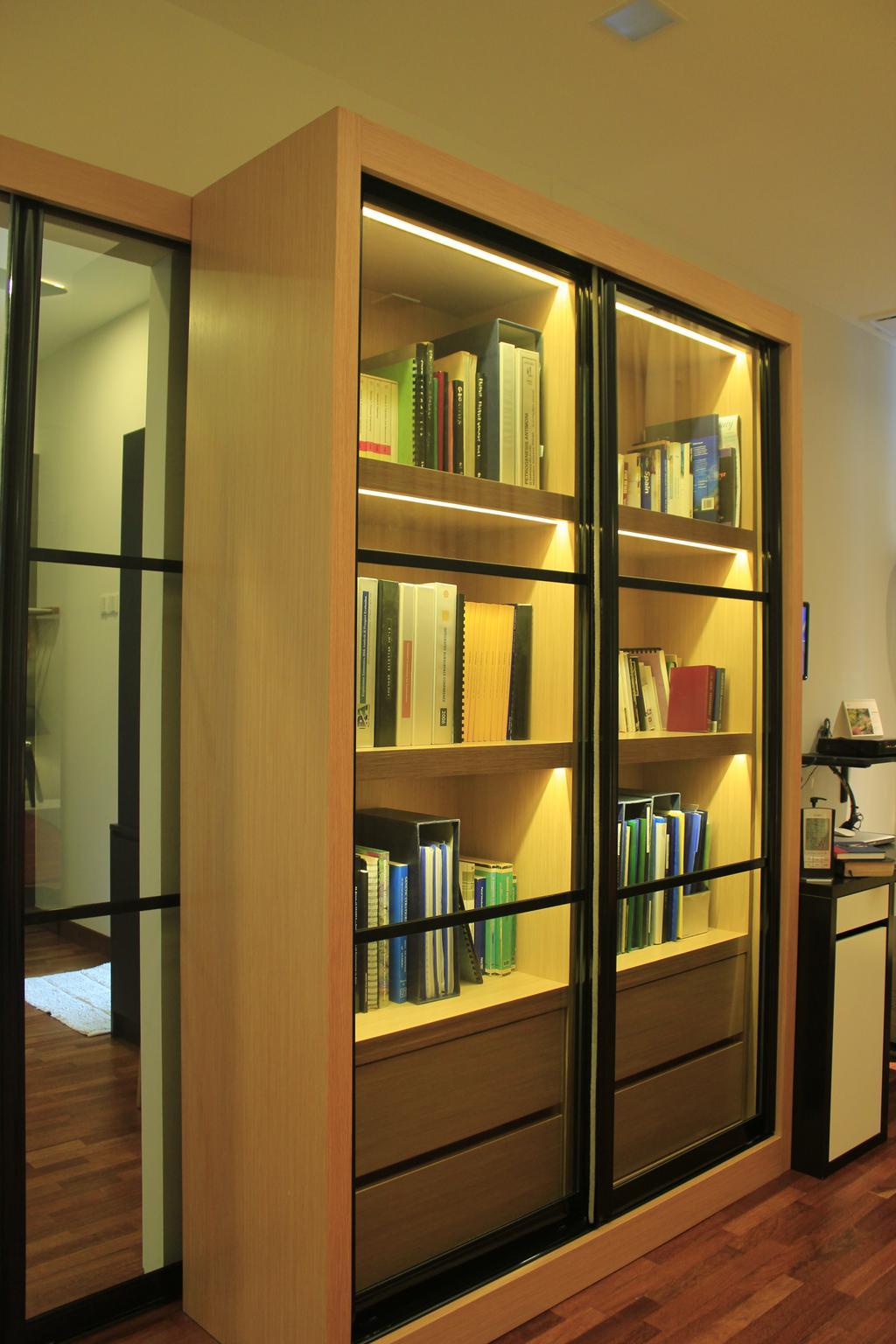 Contemporary, Landed, Bedroom, Cyberjaya, Interior Designer, Think Studio, Bookshelf, Books, Cabinet, Display Cabinet, Cabinetry, Brown, Bookcase, Furniture, Book, Shelf