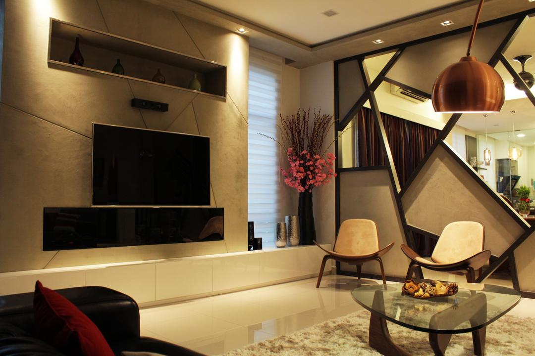 Cyberjaya, Think Studio, Contemporary, Living Room, Landed, Feature Wall, Tv, Tv Console, Tv Cabinet, Modern, Dark Colours, Dark, Mysterious, Mirrors, Pendant Lighting, Pendant Lamp, Chair, Coffee Table, Carpet, Plants, Vase, Flowers, Furniture, Indoors, Interior Design, Flora, Jar, Plant, Potted Plant, Pottery, Couch, Dining Table, Table