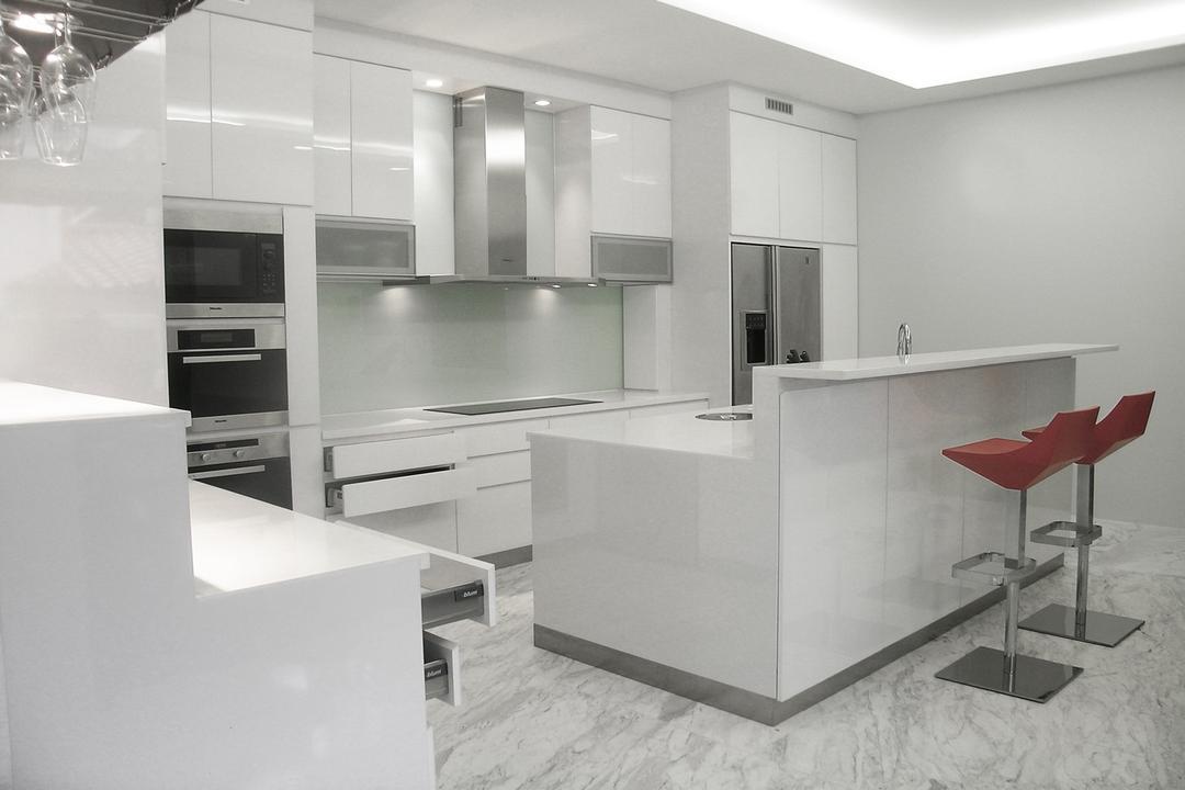 Moonbeam View, Metamorph Design, Minimalistic, Kitchen, Landed, White, Monochrome, Exhaust Hood, Cabinet, Bar Counter, Barstools, Kitchen Counter, Marble Flooring, White Marble, Laminate, Chair, Furniture