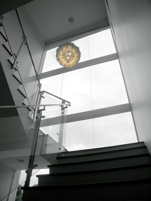 Minimalistic, Landed, Moonbeam View, Interior Designer, Metamorph Design, Lighting, Pendant Light, Hanging Light, High Ceiling, Full Length Windows, Stairs, Staircase, Glass Railing, Railing, Glass Balustrade, Balustrade, Light Fixture, Banister, Handrail