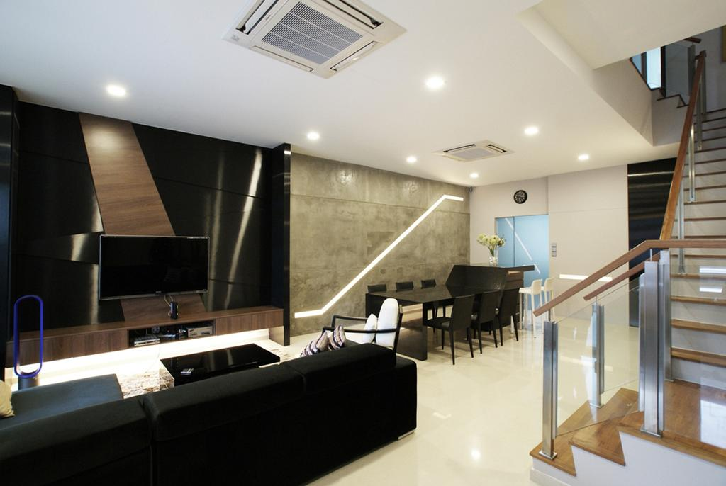 Modern, Landed, Living Room, Jalan Paras, Interior Designer, Metamorph Design, Stairs, Staircase, Parquet, Railing, Balustrade, Glass Railing, Glass Balustrade, Recessed Lighting, Indented Lighting, Feature Wall, Wood Laminate, Wood, Laminate, Tv Console, Sofa, Chair, Handrails, Cement Wall, Banister, Handrail, Couch, Furniture, Plywood, Indoors, Interior Design