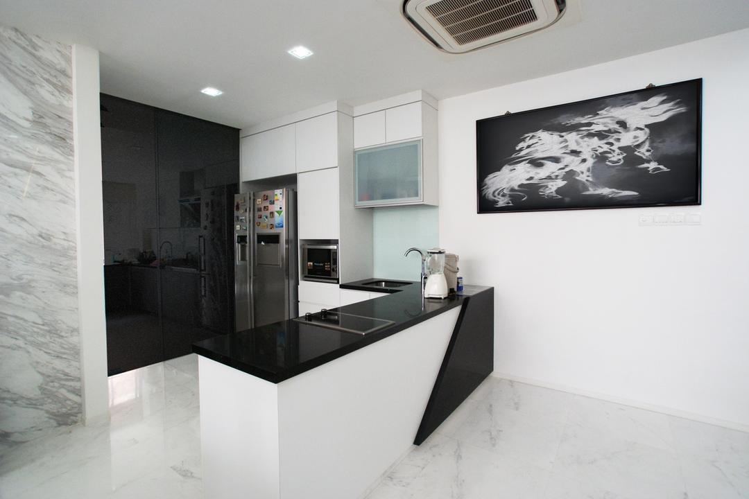 Jalan Lembah Thomson, Metamorph Design, Modern, Kitchen, Landed, Compact, Marble Wall, Glass Wall, White, Black, Monochrome, Marble Flooring, Kitchen Counter, Painting, Cabinet, Sink, HDB, Building, Housing, Indoors, Loft