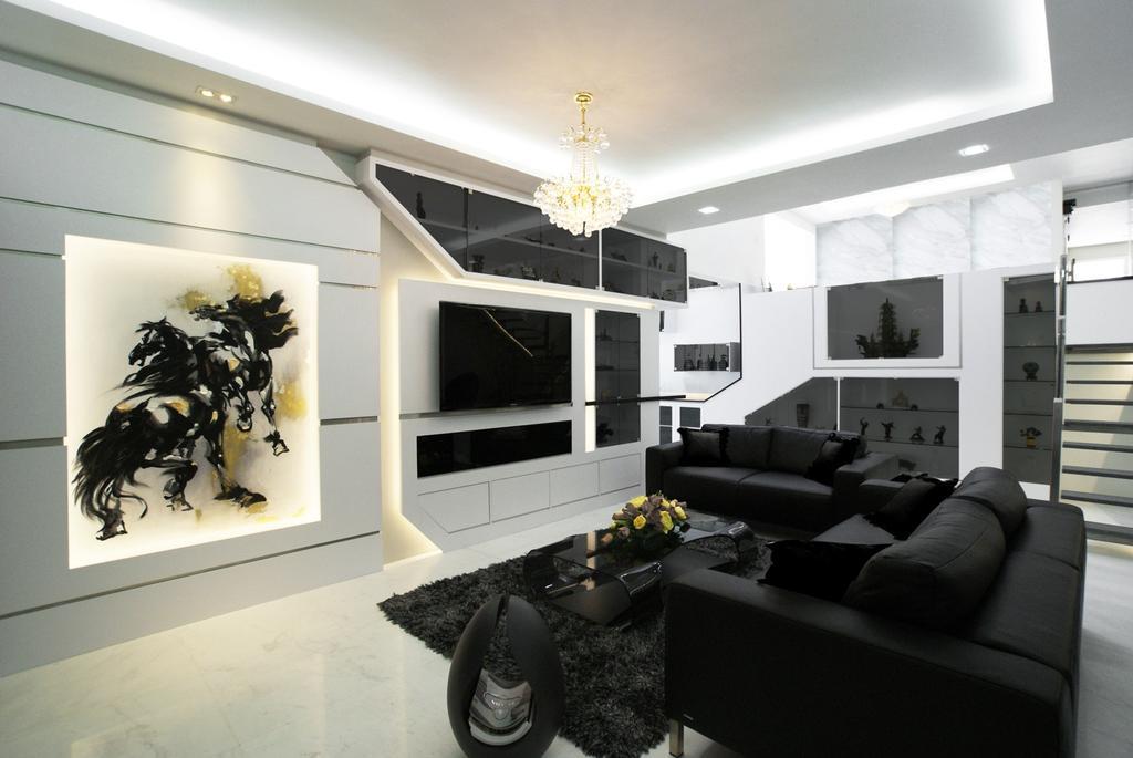 Modern, Landed, Living Room, Jalan Lembah Thomson, Interior Designer, Metamorph Design, Object Object, Couch, Furniture, Electronics, Entertainment Center, HDB, Building, Housing, Indoors, Loft
