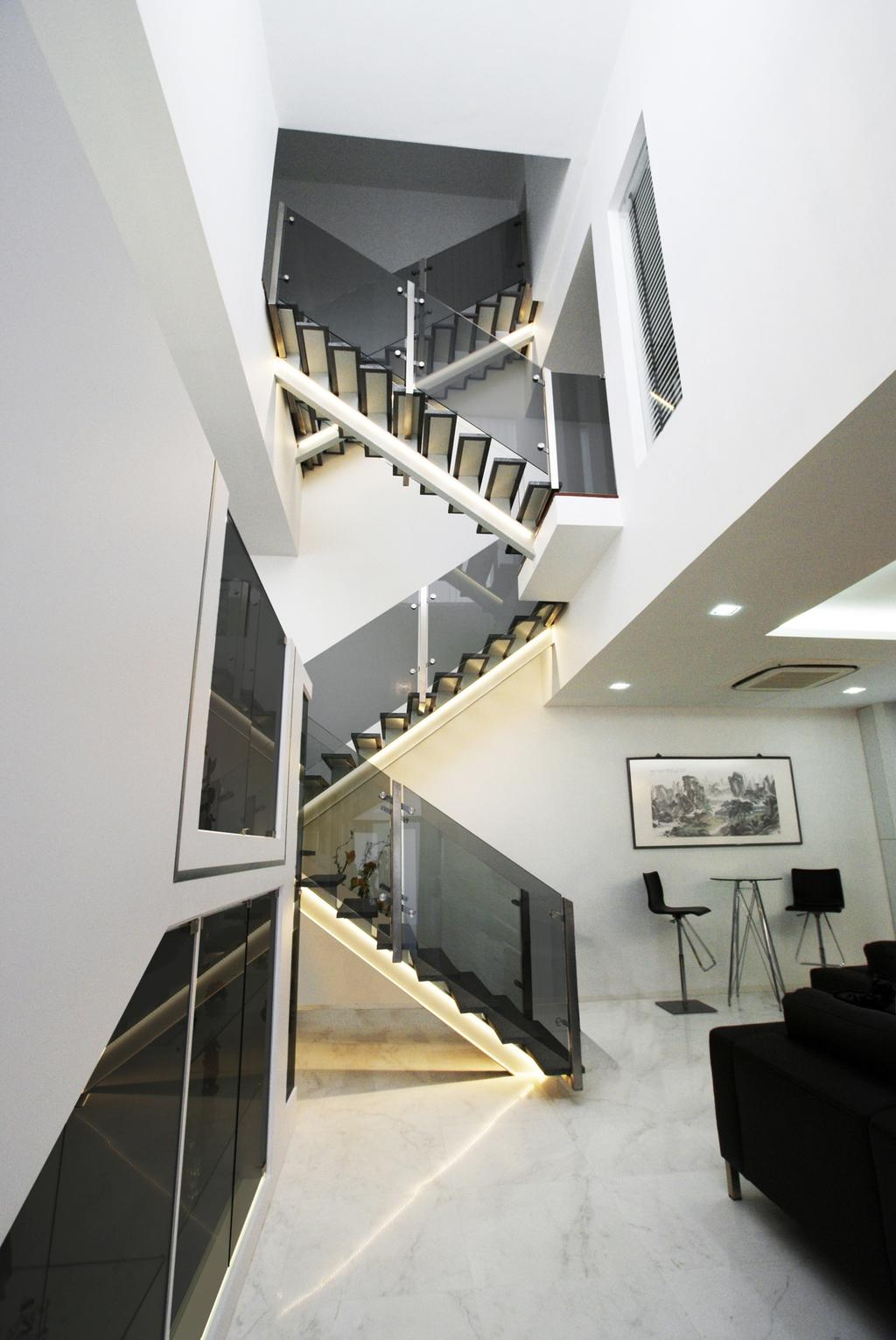 Modern, Landed, Jalan Lembah Thomson, Interior Designer, Metamorph Design, Stairs, Staircase, High Ceiling, Venetian Blinds, Glass Railing, Railing, Glass Balustrade, Balustrade, Marble Flooring, Barstools, Table, Chair, White, Furniture, Building, Housing, Banister, Handrail