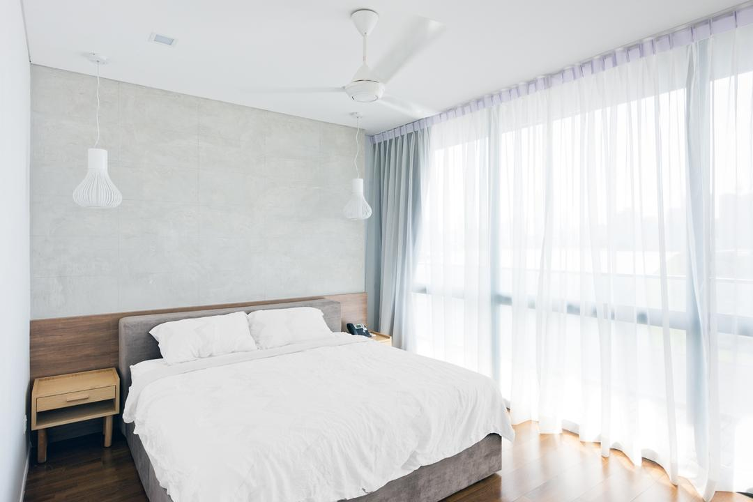 The Capers, Pocket Square, Minimalistic, Bedroom, Condo, Simple, White, Clean, Pendant Lighting, Pendant Lamp, Headboard, Bedside Table, Ceiling Fan, Curtains, Bright, Natural Light, Indoors, Interior Design, Room, Bed, Furniture