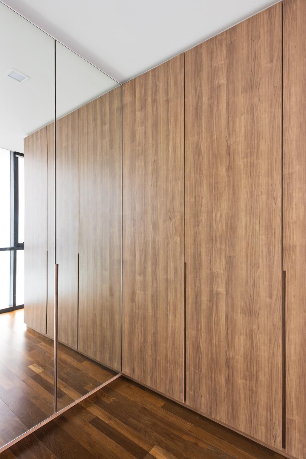 Minimalistic, Condo, Bedroom, The Capers, Interior Designer, Pocket Square, Wood, Mirror, Wood Floor, Wooden Flooring, Parquet, Cabinet, Cabinetry, Wardrobe