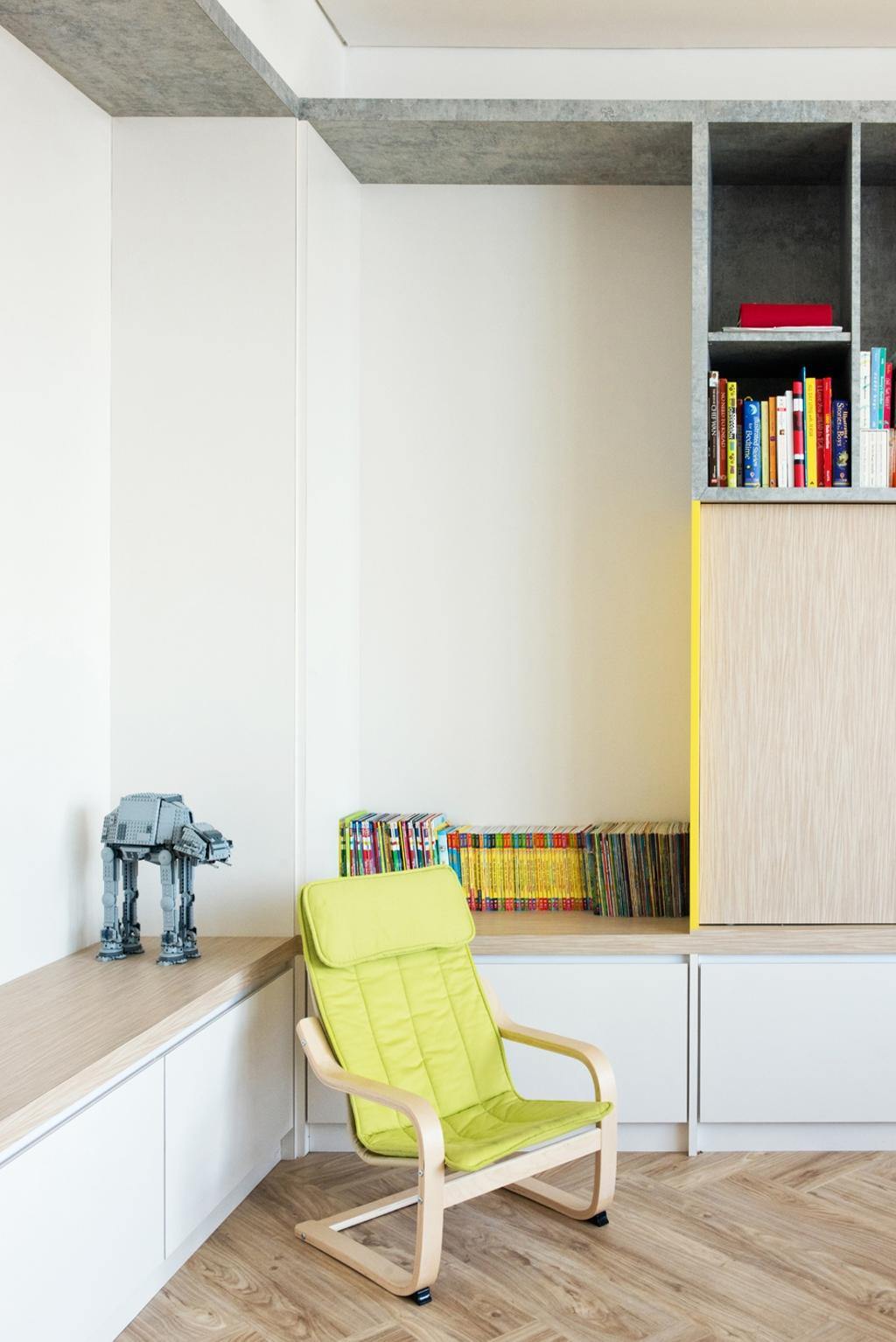 Minimalistic, Condo, Living Room, The Capers, Interior Designer, Pocket Square, Chairs, Yellow Chair, Wood Floor, Wooden Flooring, Brown, Wood, Light Wood, Shelves, Shelving, Wall Shelf, Storage, Cabinet, Cabinetry, Shelf, Bookcase, Furniture