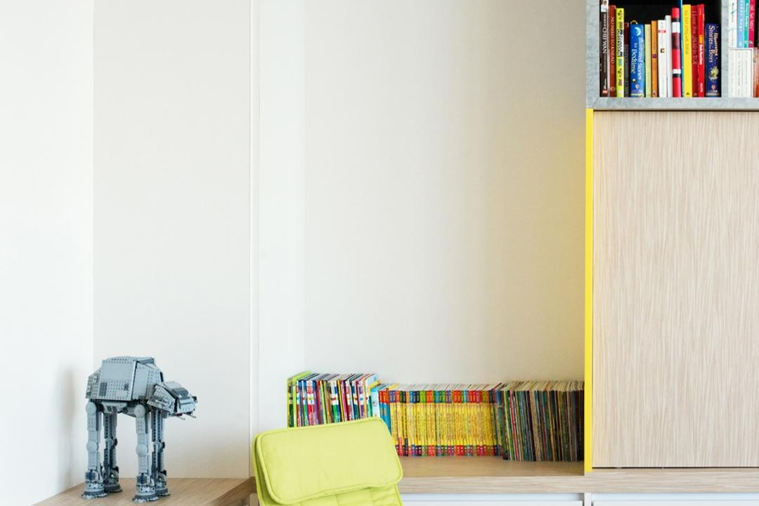 The Capers, Pocket Square, Minimalistic, Living Room, Condo, Chairs, Yellow Chair, Wood Floor, Wooden Flooring, Brown, Wood, Light Wood, Shelves, Shelving, Wall Shelf, Storage, Cabinet, Cabinetry, Shelf, Bookcase, Furniture