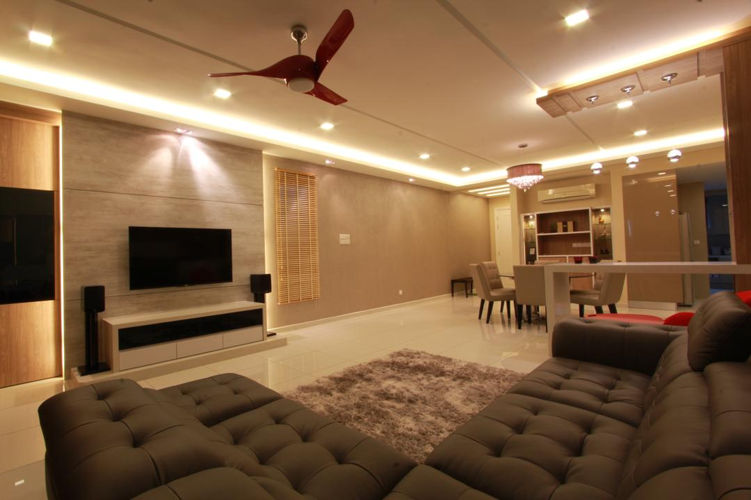 Ara Damansara, Zyon Studio Sdn. Bhd., Transitional, Living Room, Condo, Sofa, Couch, L Shaped Sofa, Carpet, Leather Sofa, Tv, Tv Cabine, Tv Console, Feature Wall, Cove Lighting, Downlight, Grey, Brown, Ceiling Fan, Concealed Lighting, Furniture, Electronics, Entertainment Center, Home Theater