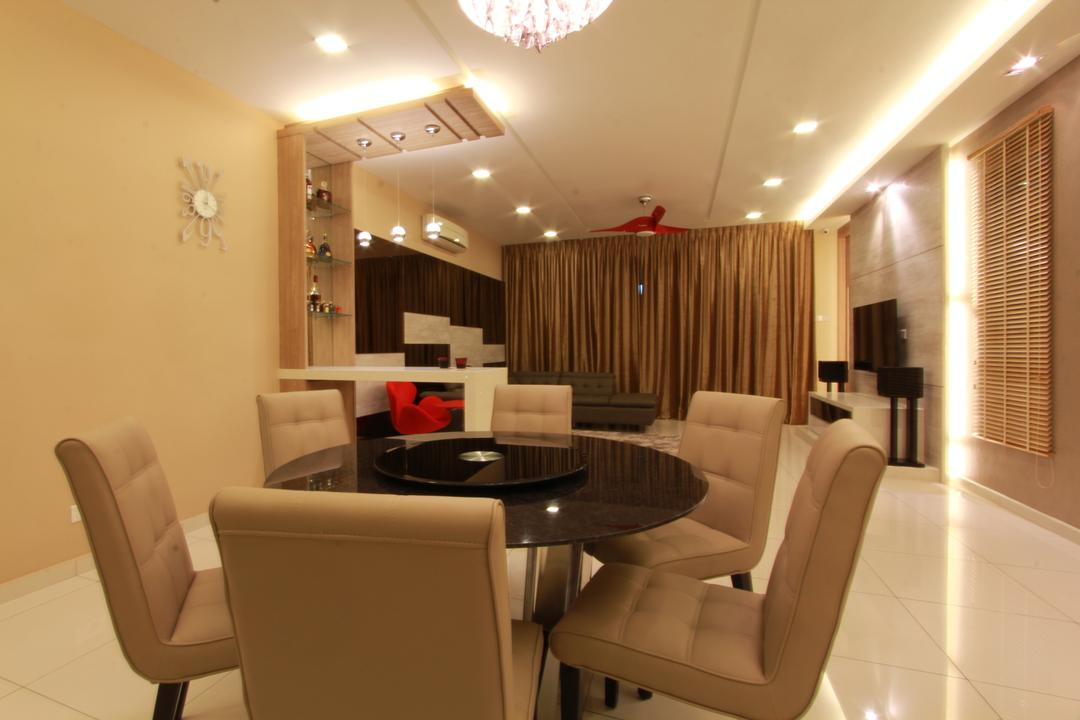 Ara Damansara, Zyon Studio Sdn. Bhd., Transitional, Dining Room, Condo, Dining Table, Dining Chairs, Chandelier, Cove Lighting, Concealed Lighting, Blinds, Curtains, Ceiling Fan, Downlight, Brown, Wood, Woody, Chair, Furniture, Couch, Indoors, Interior Design, Room, Table