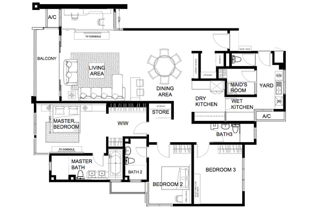 Ara Damansara, Zyon Studio Sdn. Bhd., Transitional, Condo, Floor Plan, Diagram, Plan