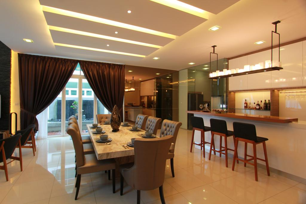 Contemporary, Landed, Dining Room, Bandar Kinrara, Interior Designer, Zyon Studio Sdn. Bhd., Dining Table, Dining Chairs, Marble, Stools, Bar Stools, High Stools, Hanging Rack, Kitchen Rack, Hanging Kitchen Rack, Cove Lighting, Countertop, Curtains, Mirror, Bar, Cabinet, Cabinetry, Furniture, Table, Reception, Restaurant, Indoors, Interior Design, Room, Chair