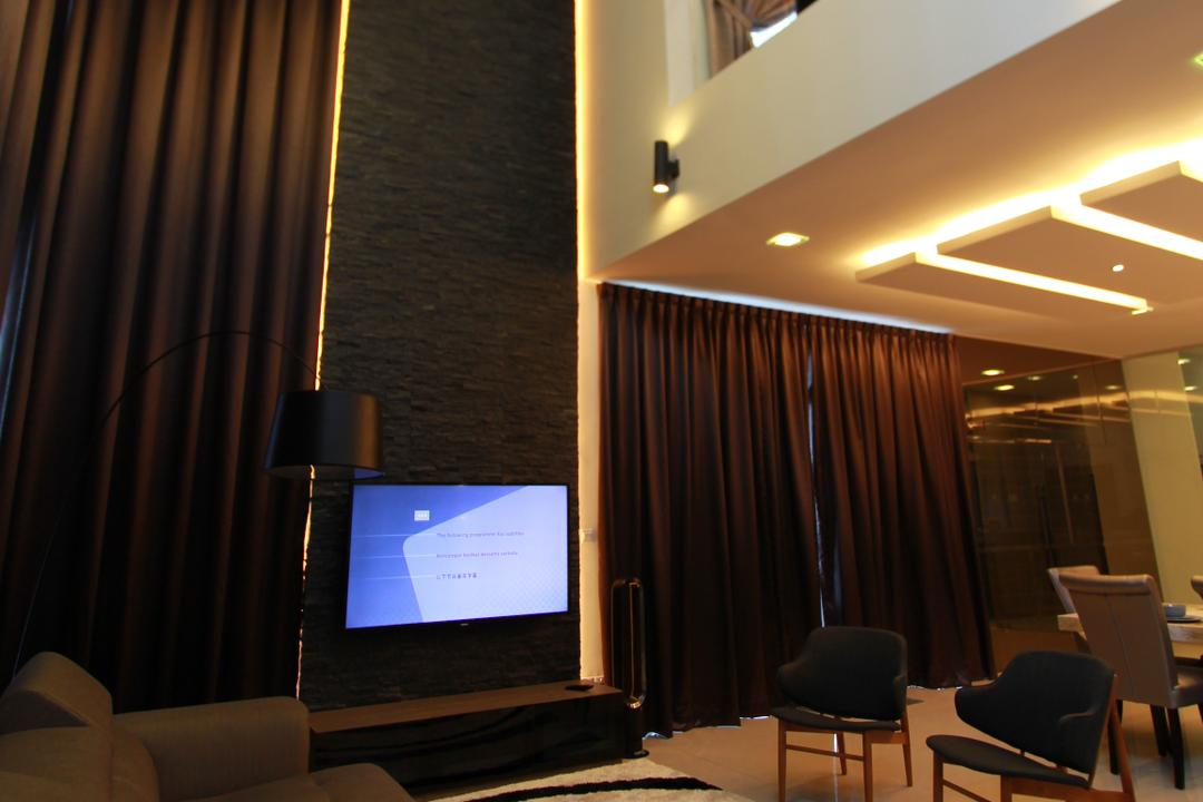 Bandar Kinrara, Zyon Studio Sdn. Bhd., Contemporary, Living Room, Landed, Feature Wall, Tv, Tv Console, Tv Cabinet, Carpet, Sofa, Couch, Leather Sofa, L Shaped Sofa, Pendant Lighting, High Ceiling, Curtains, Cove Lighting, Dark, Chair, Furniture, Conference Room, Indoors, Meeting Room, Room, Interior Design