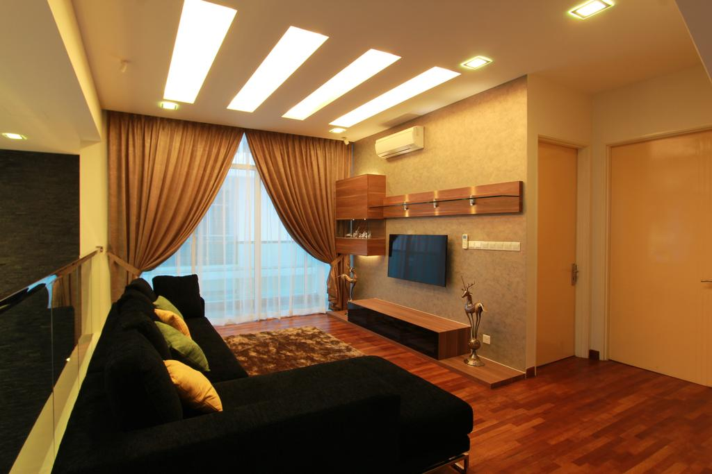 Contemporary, Landed, Living Room, Bandar Kinrara, Interior Designer, Zyon Studio Sdn. Bhd., Tv, Tv Console, Tv Cabinet, Shelves, Aircon, Gold, Brown, Curtains, Sofa, Couch, L Shaped Sofa, Wood Floor, Wooden Flooring, Furniture
