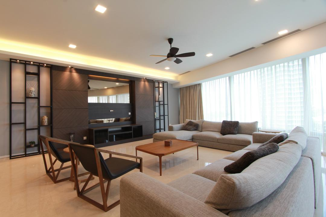 KLCC, Zyon Studio Sdn. Bhd., Contemporary, Living Room, Condo, Feature Wall, Tv, Tv Console, Tv Cabinet, Downlight, Cove Lighting, Ceiling Fan, Coffee Table, Couch, Sofa, Fabric Sofa, Chairs, Cushion, Shelves, Shelving, Curtains, Display Shelves, Furniture, Indoors, Room, Dining Table, Table