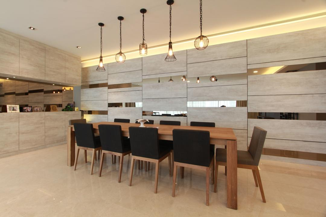 KLCC, Zyon Studio Sdn. Bhd., Contemporary, Dining Room, Condo, Dining Table, Long Table, Communal Table, Dining Chairs, Pendant Lighting, Pendant Lamp, Feature Wall, Cove Lighting, Panels, Mirror, Furniture, Table, Chair, Indoors, Interior Design, Room