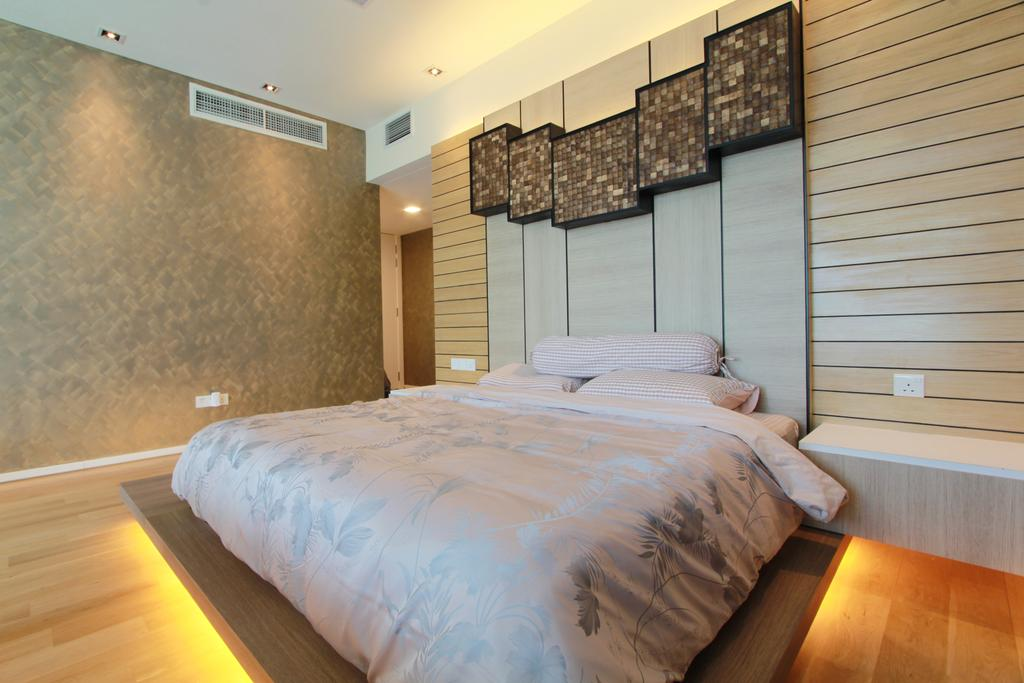 Contemporary, Condo, Bedroom, KLCC, Interior Designer, Zyon Studio Sdn. Bhd., Bed, Platform, Headboard, Wood Panels, Panelling, Cove Lighting, Wood Floor, Wooden Flooring, Bedside Table, Furniture, Indoors, Interior Design, Room