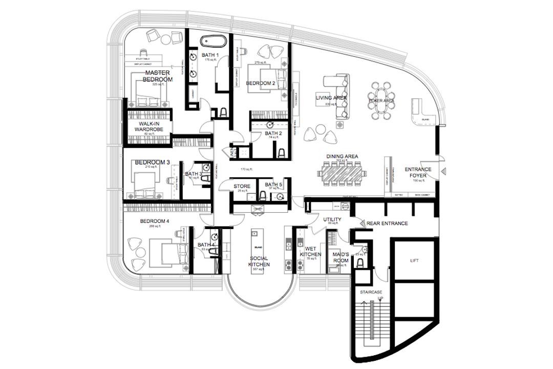 KLCC, Zyon Studio Sdn. Bhd., Contemporary, Condo, Floor Plan, Diagram, Plan