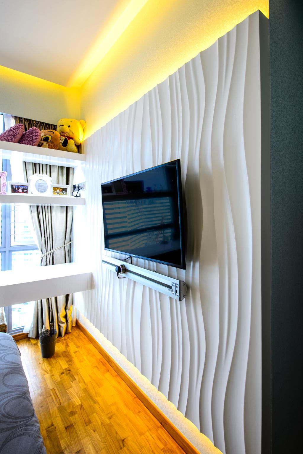 Eclectic, Condo, Bedroom, A Treasure Trove, Interior Designer, Hue Concept Interior Design, Tv Mount On Wall, Eubiq, Track System, Concealed Lighting