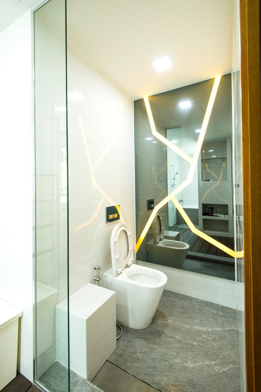 Eclectic, Condo, Bathroom, A Treasure Trove, Interior Designer, Hue Concept Interior Design, Wall Mirror, Tiles, Water Closet, White Tiles, Toilet Bowl, Toilet, Indoors, Interior Design, Room