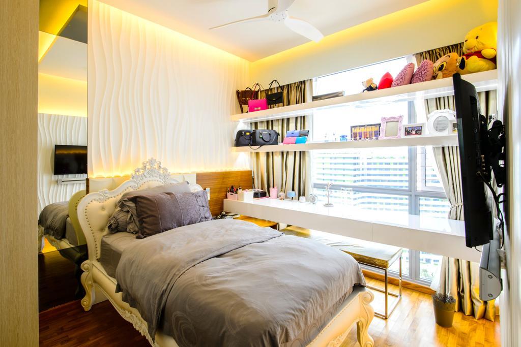 Eclectic, Condo, Bedroom, A Treasure Trove, Interior Designer, Hue Concept Interior Design, Patterned Wall, Bedframe, Window Storage, Window Display, Study Desk, Work Desk, Bed, Furniture
