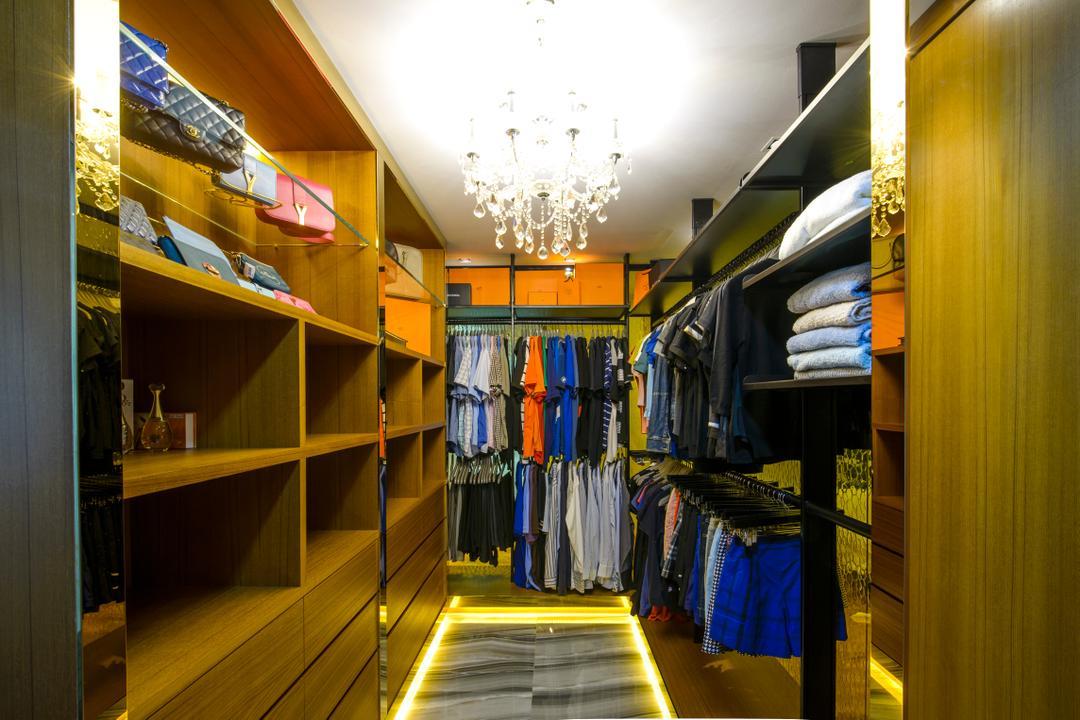 A Treasure Trove, Hue Concept Interior Design, Eclectic, Bedroom, Condo, Walk In Wardrobe, Wardrobe, Cabinet, Storage, Display, Chandelier, Crystal Lights, Hanging Light, Bags Display, Apparel, Clothing