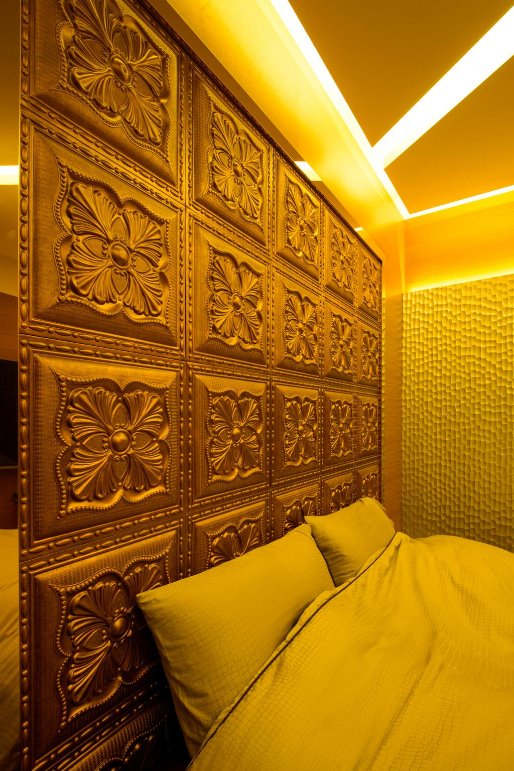 Eclectic, Condo, Bedroom, A Treasure Trove, Interior Designer, Hue Concept Interior Design, Panelling, Warm Lightings, Wall Panelling, Gold, Arabesque Pattern, Art, Ornament