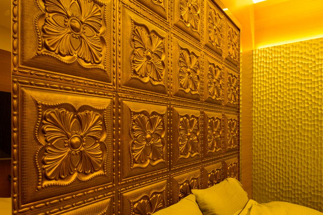 A Treasure Trove, Hue Concept Interior Design, Eclectic, Bedroom, Condo, Panelling, Warm Lightings, Wall Panelling, Gold, Arabesque Pattern, Art, Ornament