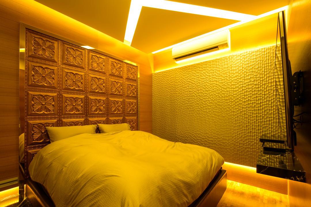 A Treasure Trove, Hue Concept Interior Design, Eclectic, Bedroom, Condo, Gold, Blinds, Dim Lights, Warm Lights, Wall Panel, Chair, Furniture, Indoors, Interior Design, Room
