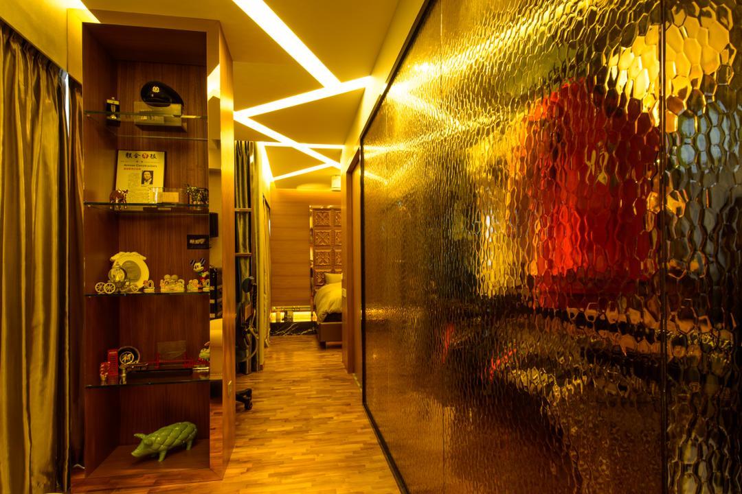 A Treasure Trove, Hue Concept Interior Design, Eclectic, Bedroom, Condo, Dressing Room, Dresser, Walk In Wardrobe, Frosted Glass, Cabinet, Wardrobe, Dim Lighting, Dim Lights