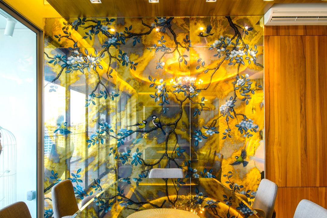 A Treasure Trove, Hue Concept Interior Design, Eclectic, Dining Room, Condo, Painted Glass, Glass Partition, Full Length Windows, Reflective Surface
