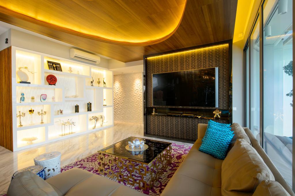 Eclectic, Condo, Living Room, A Treasure Trove, Interior Designer, Hue Concept Interior Design, L Shaped Sofa, Ceramic Stool, Hallway, Corridor, Walkway, Opulent, Oriental, Quirky, Fireplace, Hearth, Indoors, Room