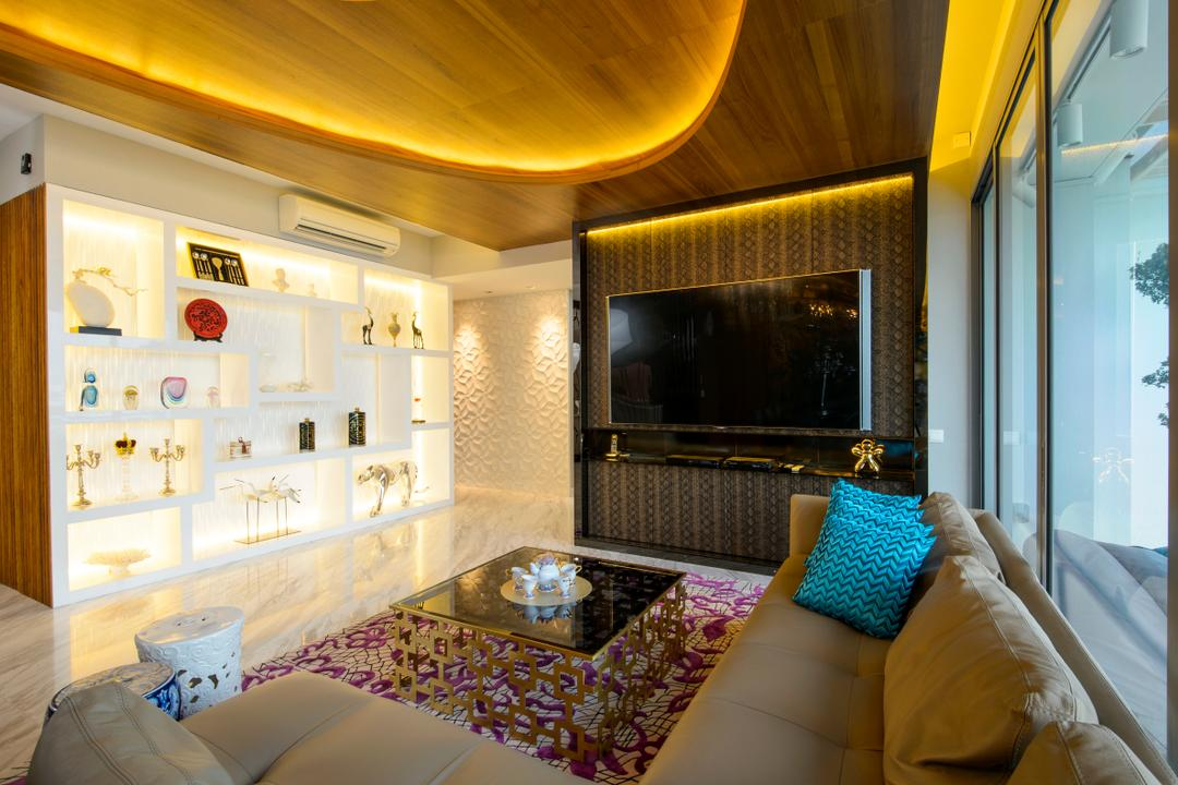 A Treasure Trove, Hue Concept Interior Design, Eclectic, Living Room, Condo, L Shaped Sofa, Ceramic Stool, Hallway, Corridor, Walkway, Opulent, Oriental, Quirky, Fireplace, Hearth, Indoors, Room
