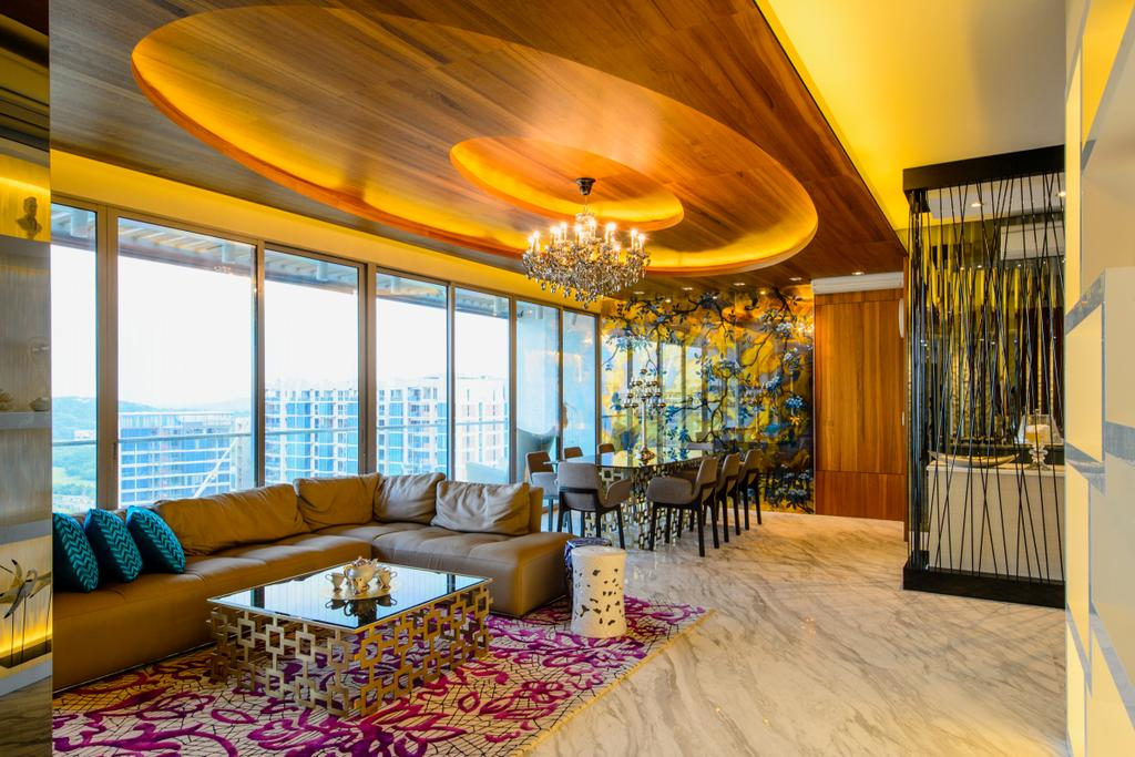 Eclectic, Condo, Living Room, A Treasure Trove, Interior Designer, Hue Concept Interior Design, Walkway, Hallway, Open Concept, Oval Ceiling, Oval Feature, Feature Ceiling, Hanging Lights, Full Length Windows, Suite, Penthouse, Couch, Furniture, Indoors, Room