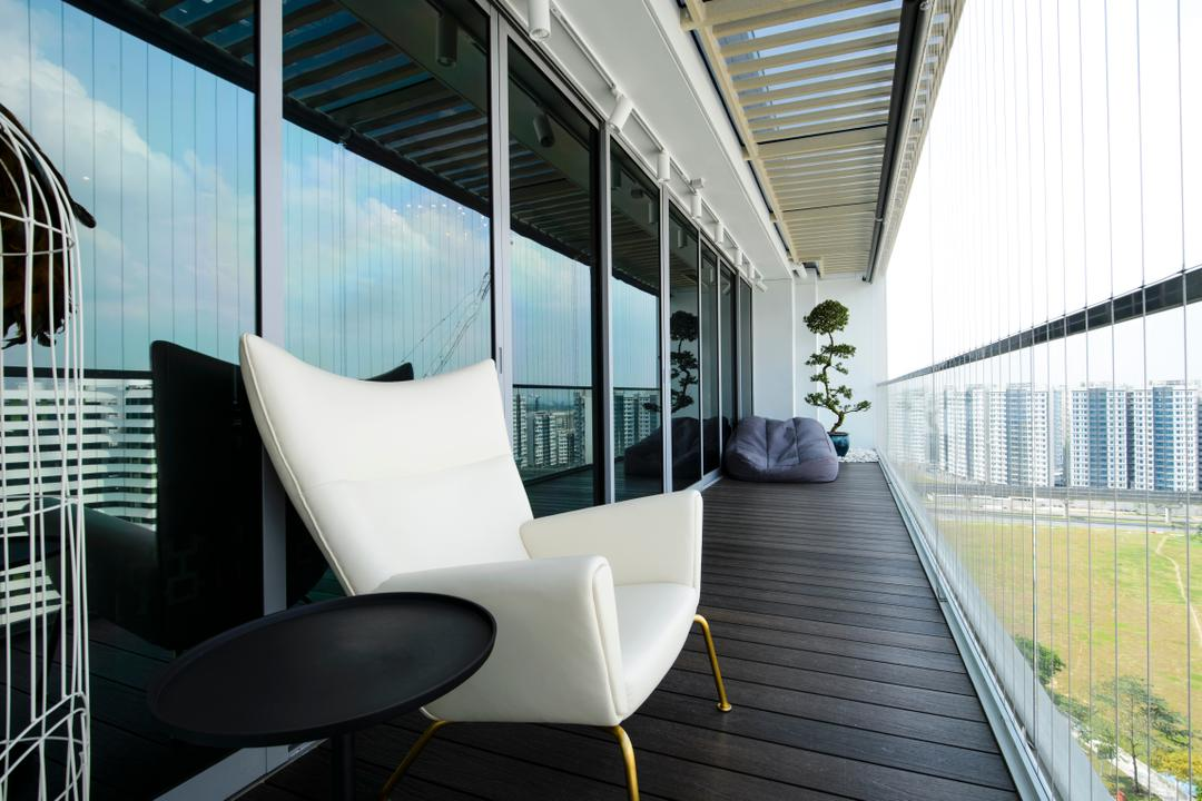 A Treasure Trove, Hue Concept Interior Design, Eclectic, Balcony, Condo, Window Grille, Invisible Grilles, Timber Decking, Outdoor Furniture, View, Wooden Deck, Chair, Furniture, Building, Office Building