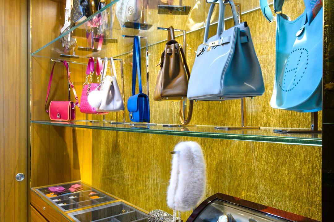 A Treasure Trove, Hue Concept Interior Design, Eclectic, Bedroom, Condo, Bag Display, Bag Storage, Bags, Walk In Wardrobe, Cabinet, Wardrobe