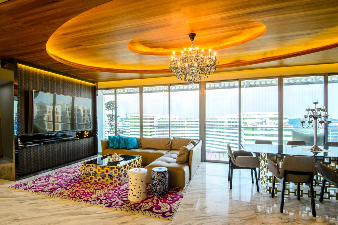 A Treasure Trove, Hue Concept Interior Design, Eclectic, Living Room, Condo, Recessed Ceiling, Wooden Ceiling, Chandelier, Regal, Opulent, Luxe, Suite, Oriental, Ceramic Stool, Spacious, Penthouse, Area Rug, Marble Flooring, Chinese, L Shaped Sofa, Leather Sofa, Coffee Table, Lamp, Dining Room, Indoors, Interior Design, Room, Couch, Furniture, Dining Table, Table, Chair