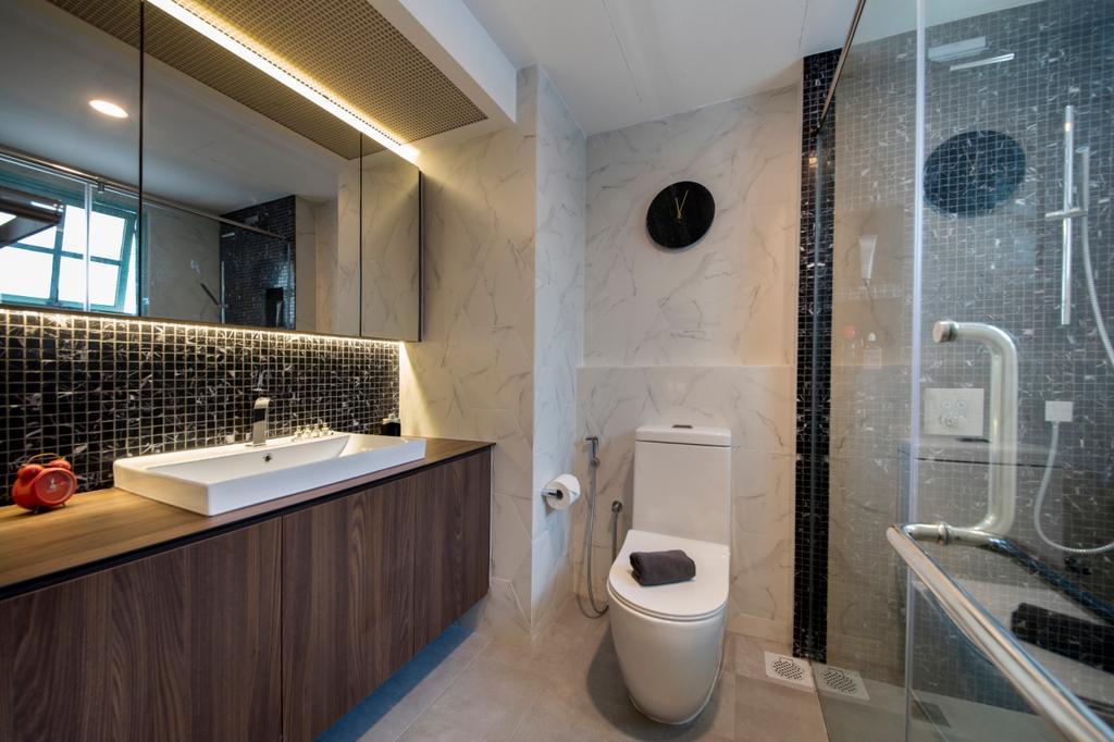 Contemporary, Condo, Bathroom, Mariam Way, Interior Designer, Hue Concept Interior Design, Toilet, Lighting, Sink