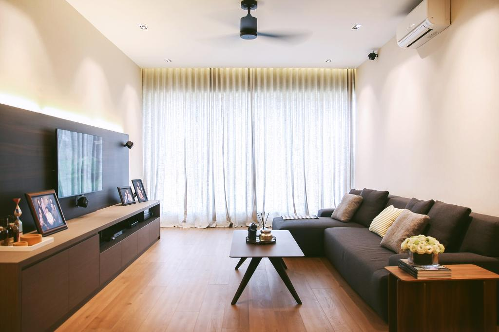 Modern, Condo, Living Room, Tiara, Architect, JOW Architects, Spin Fan, Black Ceiling Fan, Curtains, Day Curtains, Concealed Lighting, Cove Lighting, Fabric Sofa, Coffee Table, Centrepiece, Couch, Furniture, Electronics, Monitor, Screen, Tv, Television, Indoors, Room