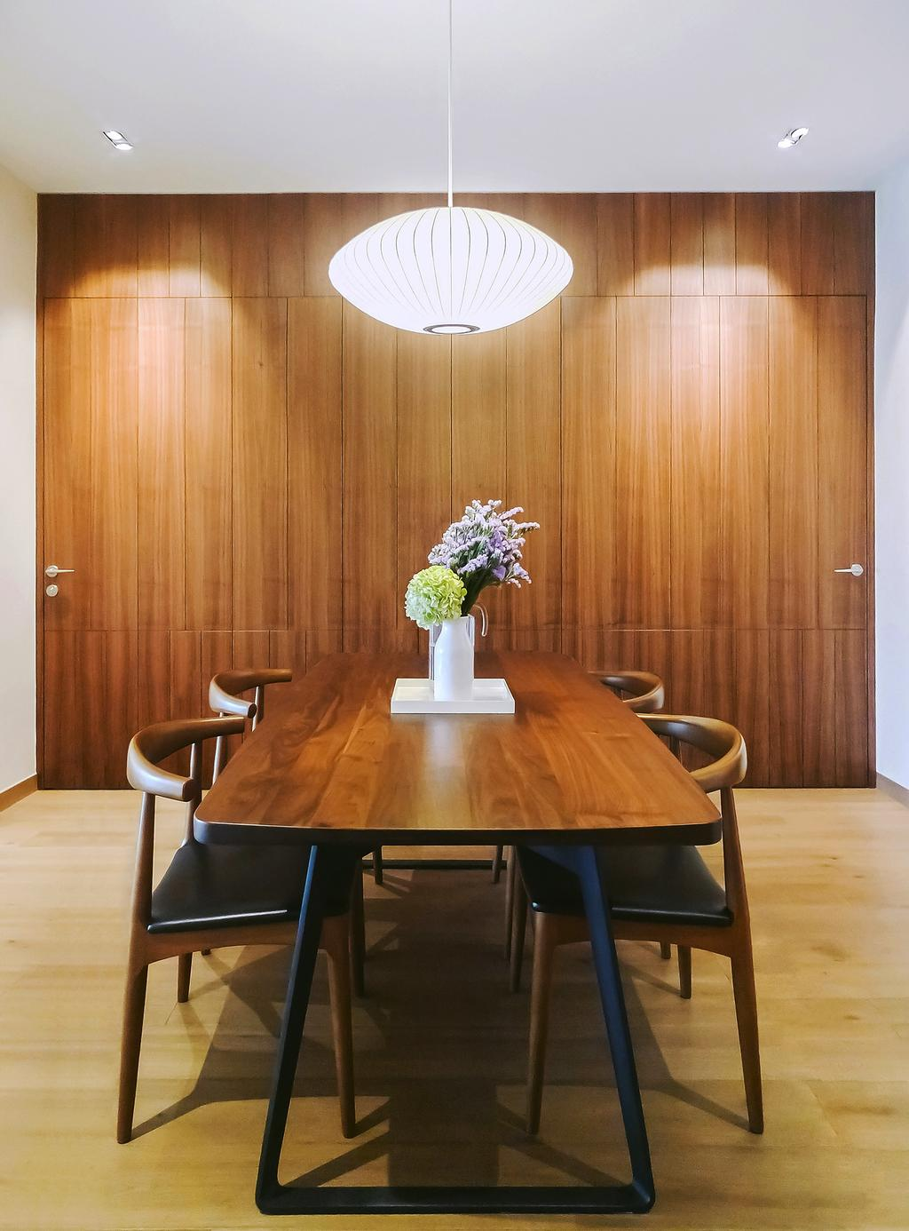 Modern, Condo, Dining Room, Tiara, Architect, JOW Architects, Hidden Storage, Laminate, Hanging Lights, Pendant Light, Wooden Coffee Table, Flower Centrepiece, Dark Wood, Chair, Furniture, Dining Table, Table, Flora, Jar, Plant, Potted Plant, Pottery, Vase, Indoors, Interior Design, Room, Blossom, Flower, Lilac