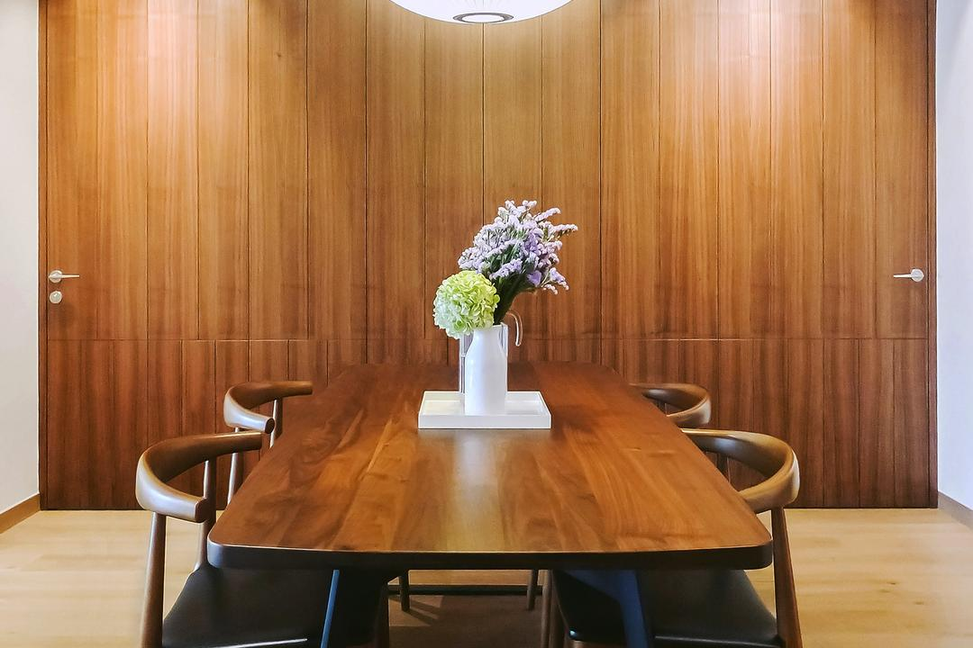 Tiara, JOW Architects, Modern, Dining Room, Condo, Hidden Storage, Laminate, Hanging Lights, Pendant Light, Wooden Coffee Table, Flower Centrepiece, Dark Wood, Chair, Furniture, Dining Table, Table, Flora, Jar, Plant, Potted Plant, Pottery, Vase, Indoors, Interior Design, Room, Blossom, Flower, Lilac